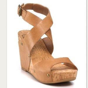 Lucky Brand Tan Moran Leather Platform Wedges
